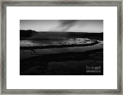 Great Fountain Geyser Black And White Framed Print by Mark Kiver