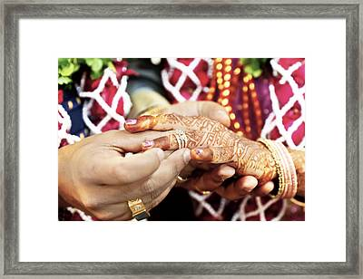 Great Hindu Wedding With This Ring I Thee Framed Print by Kantilal Patel