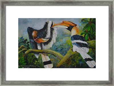 Great Hornbill Framed Print by Wiriya Klinsaowakon