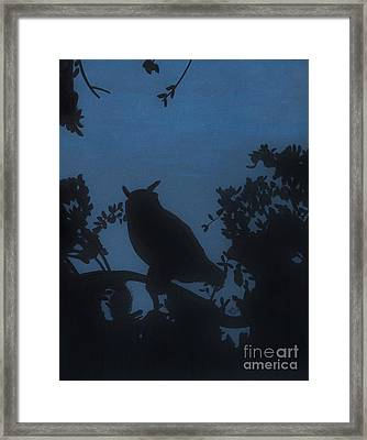 Framed Print featuring the drawing Owl At Night by D Hackett