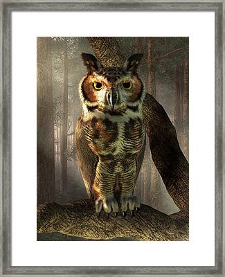 Great Horned Owl Framed Print by Daniel Eskridge