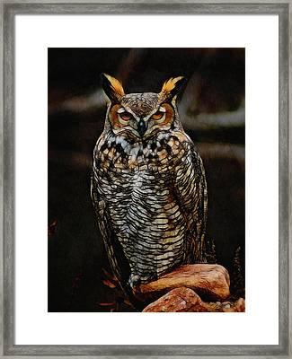 Great Horned Owl Digital Art Framed Print by Ernie Echols