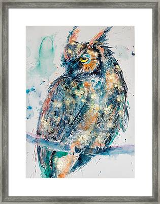 Great Horned Owl In Gold Framed Print