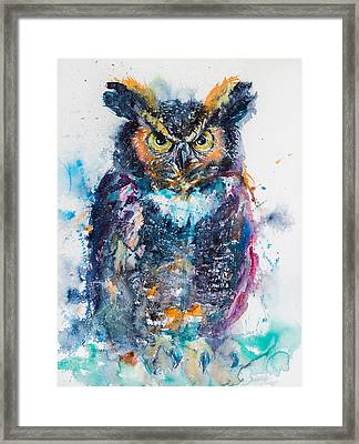 Great Horned Owl Framed Print by Kovacs Anna Brigitta
