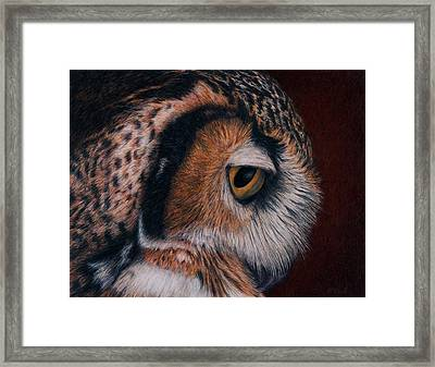Framed Print featuring the painting Great Horned Owl Portrait by Pat Erickson