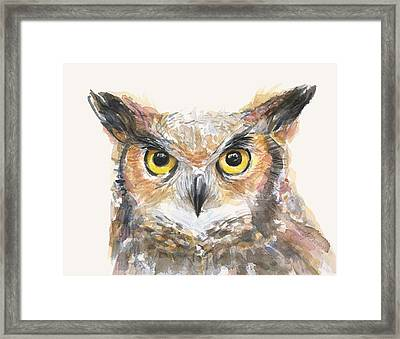 Great Horned Owl Watercolor Framed Print by Olga Shvartsur