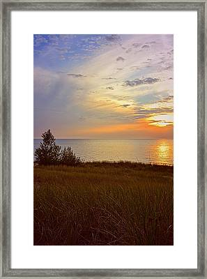 Great Lake Great Sunset Framed Print by Michelle Calkins