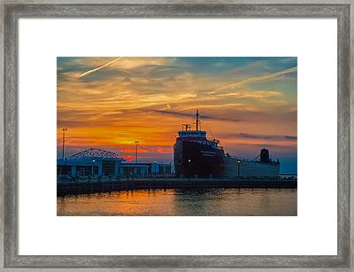 Great Lakes Freighter At Sunset Framed Print