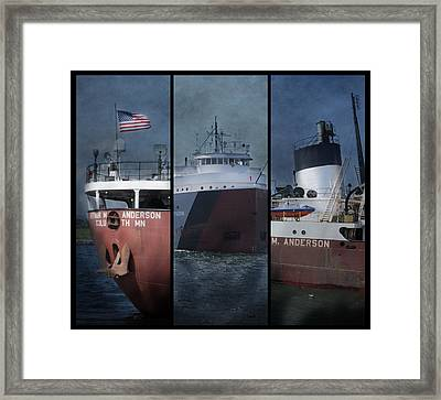 Great Lakes Freighter Triptych Arthur M Anderson Framed Print