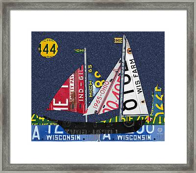Great Lakes States Sailboat Recycled Vintage License Plate Art Framed Print by Design Turnpike