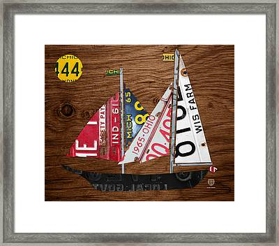Great Lakes States Sailboat Recycled Vintage License Plate Art On Wood Framed Print by Design Turnpike