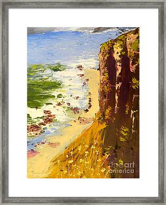 Framed Print featuring the painting Great Ocean Road by Pamela  Meredith