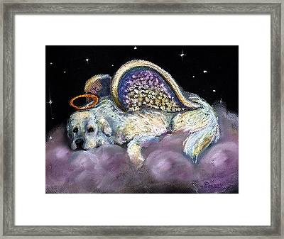 Great Pyrenees Laying Angel Framed Print by Darlene Grubbs