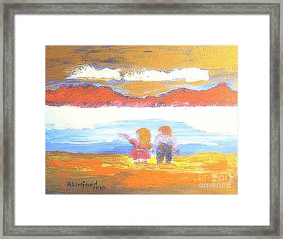 Great Salt Lake Utah And Children Framed Print by Richard W Linford