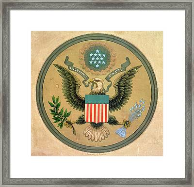 Great Seal Of The United States, C.1850 Litho Framed Print