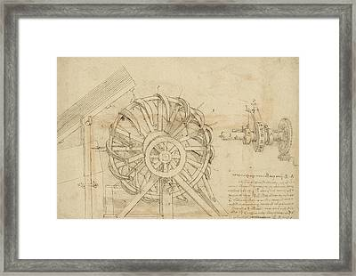 Great Sling Rotating On Horizontal Plane Great Wheel And Crossbows Devices From Atlantic Codex Framed Print by Leonardo Da Vinci