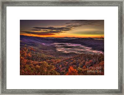 Great Smokey Mountains Pink Beds Framed Print by Reid Callaway