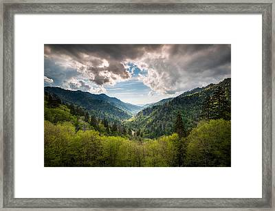 Great Smoky Mountains Landscape Photography - Spring At Mortons Overlook Framed Print