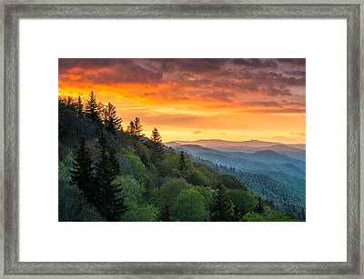 Great Smoky Mountains North Carolina Scenic Landscape Cherokee Rising Framed Print by Dave Allen