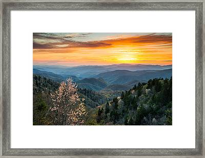 Great Smoky Mountains Spring Sunset Landscape Photography Framed Print by Dave Allen
