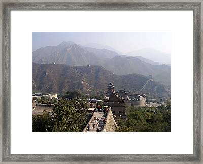 Great Wall Of China At Badaling Framed Print by Debbie Oppermann