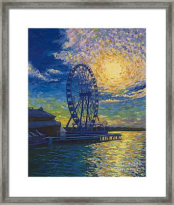 Great Wheel Sunset Framed Print by Francesca Kee