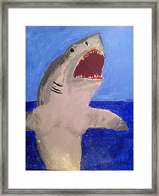Great White Shark Breaching Framed Print by Fred Hanna