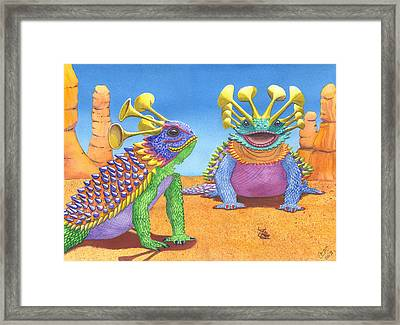 Greater And Lesser Horned Lizards Framed Print by Catherine G McElroy