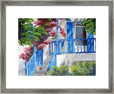 Greec House Framed Print by Soumya Bouchachi