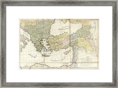 Greece And Turkey Framed Print by Library Of Congress, Geography And Map Division