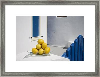 Greece, Cyclades, Santorini, Oia,lemons Framed Print
