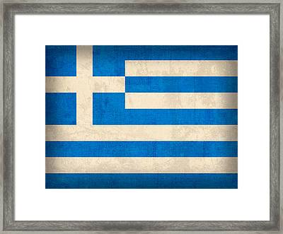 Greece Flag Vintage Distressed Finish Framed Print by Design Turnpike