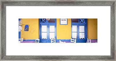 Greece, Hydra, Empty Restaurant Framed Print