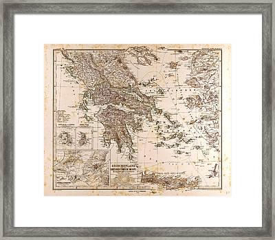 Greece Map 1873 Gotha Justus Perthes 1872 Atlas Framed Print