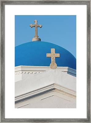 Greece, Mykonos Blue Greek Orthodox Framed Print by Jaynes Gallery