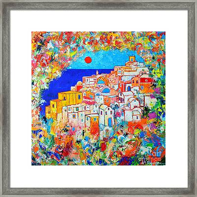 Greece - Santorini Island - Abstract Impression From Oia At Sunset - A Moment In Time Framed Print by Ana Maria Edulescu