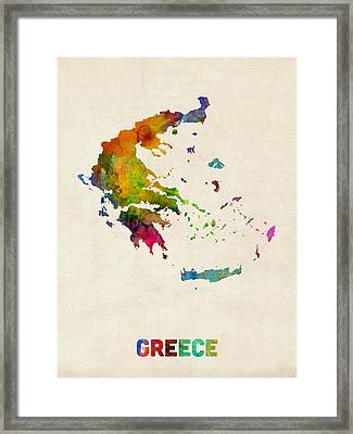 Greece Watercolor Map Framed Print