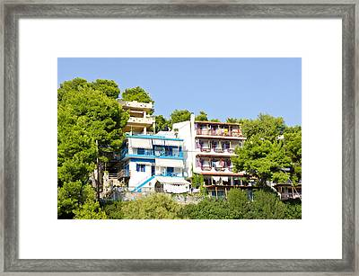 Greek Apartments Framed Print by Tom Gowanlock