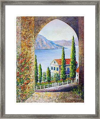 Framed Print featuring the painting Greek Arch Vista by Lou Ann Bagnall