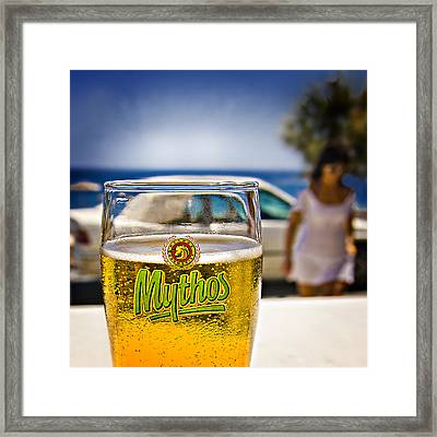 Greek Beer Goggles Framed Print by Meirion Matthias