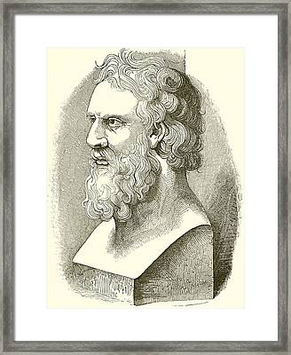 Greek Bust Of Plato Framed Print by English School