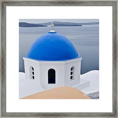 Greek Blue Domed Church Framed Print by Ning Mosberger-Tang
