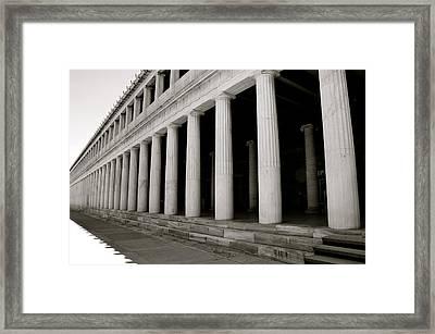 Greek Columns Black And White Framed Print by Corinne Rhode