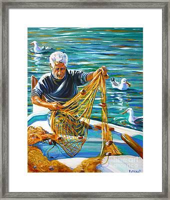 Greek Fisherman Framed Print by Yvonne Ayoub
