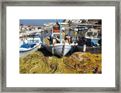 Greek Fishing Harbour Framed Print