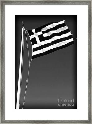 Greek Flag Framed Print by John Rizzuto