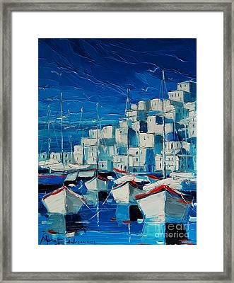 Greek Harbor Framed Print by Mona Edulesco