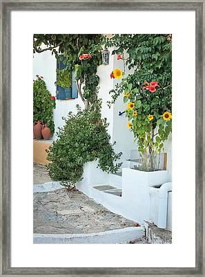 Greek House Framed Print by Tom Gowanlock