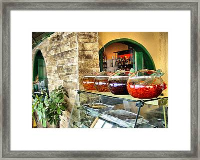 Framed Print featuring the photograph Greek Isle Restaurant Still Life by Mitchell R Grosky
