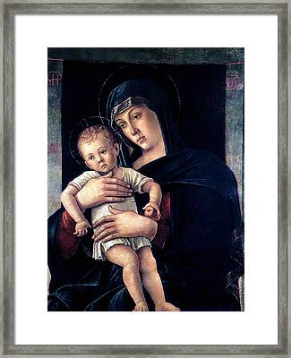 Framed Print featuring the painting Greek Madonna With Child 1464 Giovanni Bellini by Karon Melillo DeVega